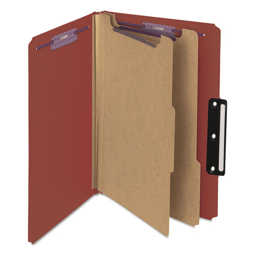 Pressboard Classification Folders with SafeSHIELD Coated Fasteners, 1/3-Cut, 2 Dividers, Legal Size, Red, 10/Box. Picture 3