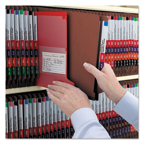 End Tab Pressboard Classification Folders with SafeSHIELD Coated Fasteners, 2 Dividers, Letter Size, Red, 10/Box. Picture 6