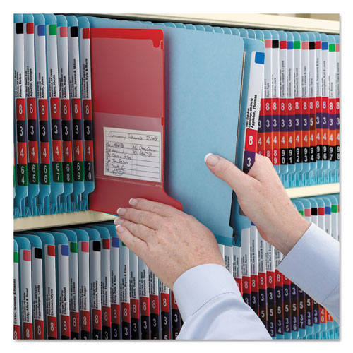 End Tab Colored Pressboard Classification Folders with SafeSHIELD Coated Fasteners, 2 Dividers, Letter Size, Blue, 10/Box. Picture 5
