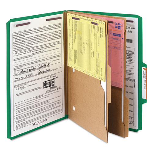 6-Section Pressboard Top Tab Pocket-Style Classification Folders with SafeSHIELD Fasteners, 2 Dividers, Legal, Green, 10/BX. Picture 5