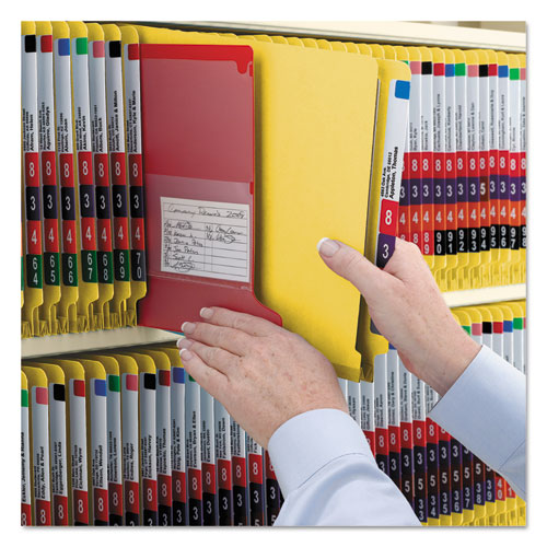 End Tab Colored Pressboard Classification Folders with SafeSHIELD Coated Fasteners, 2 Dividers, Legal Size, Yellow, 10/Box. Picture 6