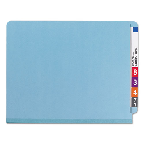 End Tab Colored Pressboard Classification Folders with SafeSHIELD Coated Fasteners, 2 Dividers, Letter Size, Blue, 10/Box. Picture 6