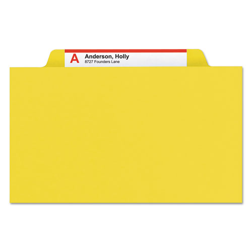 Eight-Section Pressboard Top Tab Classification Folders with SafeSHIELD Fasteners, 3 Dividers, Letter Size, Yellow, 10/Box. Picture 5