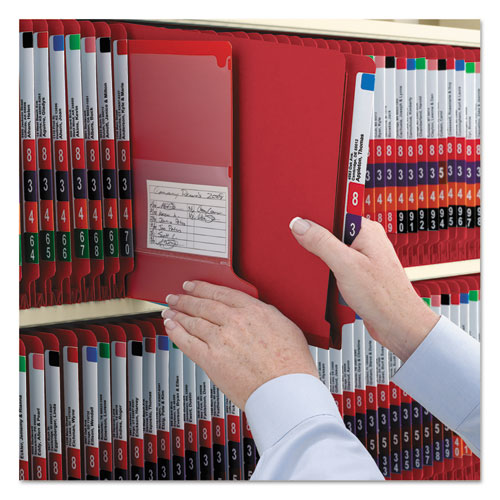 End Tab Pressboard Classification Folders with SafeSHIELD Fasteners, 2 Dividers, Legal Size, Bright Red, 10/Box. Picture 6