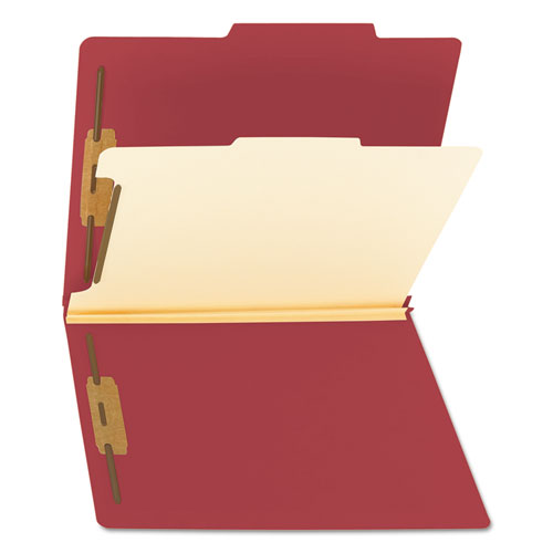 Colored Top Tab Classification Folders, 1 Divider, Letter Size, Red, 10/Box. Picture 2