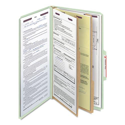 Pressboard Classification Folders with SafeSHIELD Coated Fasteners, 2/5 Cut, 2 Dividers, Legal Size, Gray-Green, 10/Box. Picture 9
