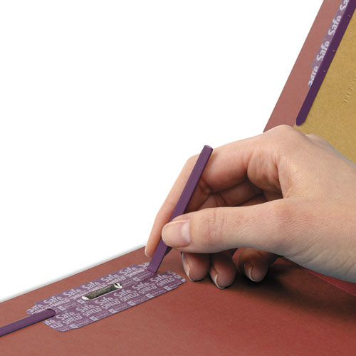 Pressboard Classification Folders with SafeSHIELD Coated Fasteners, 1/3-Cut, 2 Dividers, Legal Size, Red, 10/Box. Picture 4