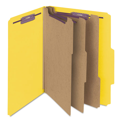 Eight-Section Pressboard Top Tab Classification Folders with SafeSHIELD Fasteners, 3 Dividers, Letter Size, Yellow, 10/Box. Picture 6