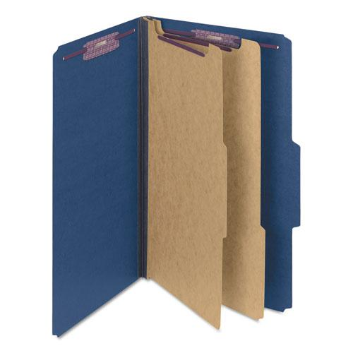 Six-Section Pressboard Top Tab Classification Folders with SafeSHIELD Fasteners, 2 Dividers, Legal Size, Dark Blue, 10/Box. Picture 12