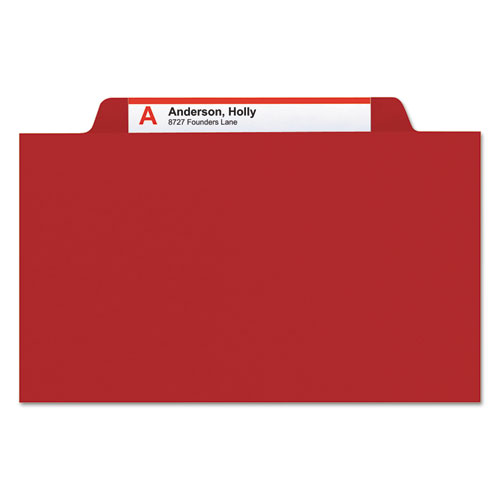 Colored Top Tab Classification Folders, 2 Dividers, Letter Size, Red, 10/Box. Picture 3