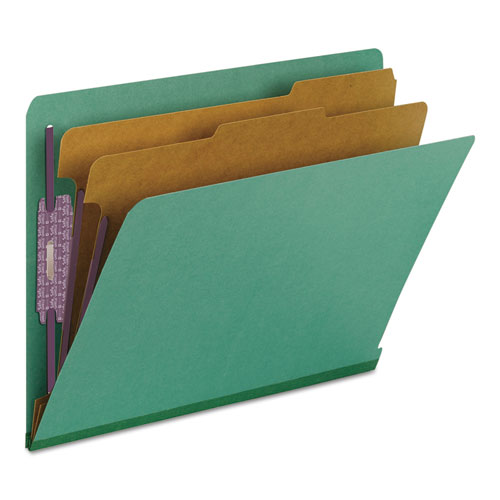 End Tab Colored Pressboard Classification Folders with SafeSHIELD Coated Fasteners, 2 Dividers, Letter Size, Green, 10/Box. Picture 6