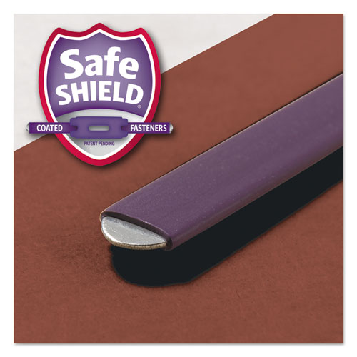 Pressboard Classification Folders with SafeSHIELD Coated Fasteners, 1/3-Cut, 2 Dividers, Legal Size, Red, 10/Box. Picture 5