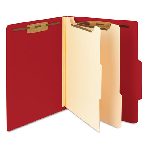 Colored Top Tab Classification Folders, 2 Dividers, Letter Size, Red, 10/Box. Picture 4
