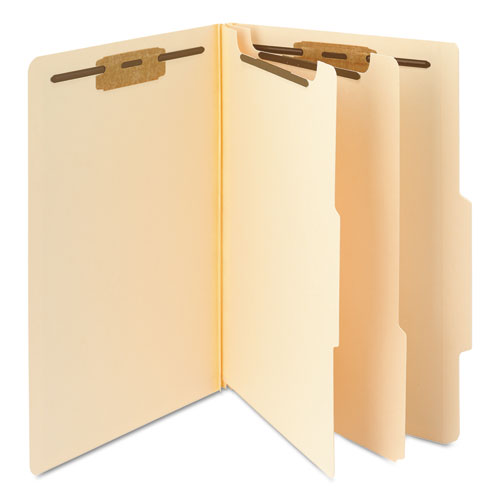 Manila Four- and Six-Section Top Tab Classification Folders, 2 Dividers, Legal Size, Manila, 10/Box. Picture 4