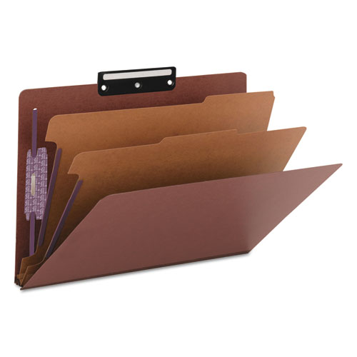 Pressboard Classification Folders with SafeSHIELD Coated Fasteners, 1/3-Cut, 2 Dividers, Legal Size, Red, 10/Box. Picture 6