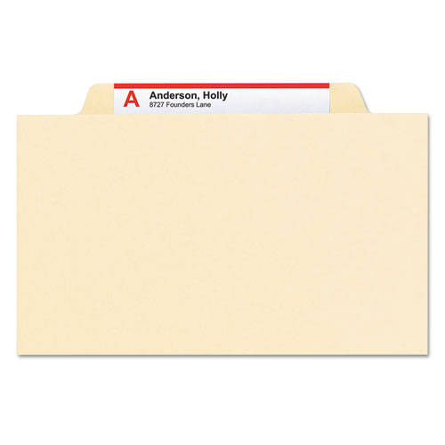 Manila Four- and Six-Section Top Tab Classification Folders, 2 Dividers, Legal Size, Manila, 10/Box. Picture 5