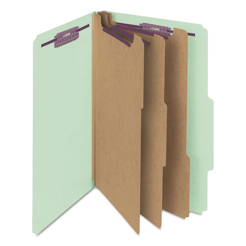 Pressboard Classification Folders with SafeSHIELD Coated Fasteners, 2/5 Cut, 3 Dividers, Legal Size, Gray-Green, 10/Box. Picture 5