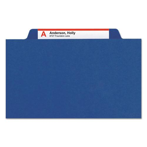 Six-Section Pressboard Top Tab Classification Folders with SafeSHIELD Fasteners, 2 Dividers, Legal Size, Dark Blue, 10/Box. Picture 9