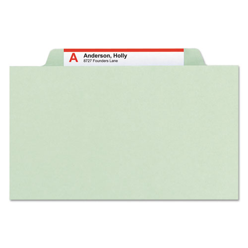 Pressboard Classification Folders with SafeSHIELD Coated Fasteners, 2/5 Cut, 3 Dividers, Legal Size, Gray-Green, 10/Box. Picture 6