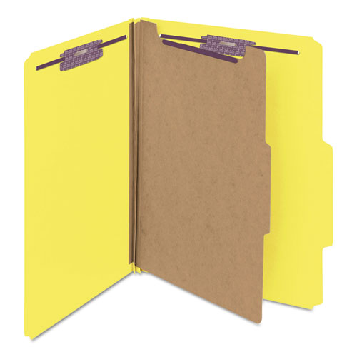 Four-Section Pressboard Top Tab Classification Folders with SafeSHIELD Fasteners, 1 Divider, Letter Size, Yellow, 10/Box. Picture 7