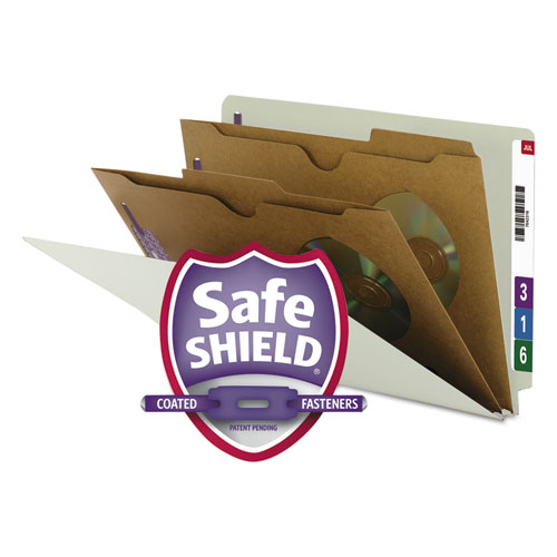 X-Heavy 2-Pocket End Tab Pressboard Classification Folders with SafeSHIELD Fasteners, 2 Dividers, Legal, Gray-Green, 10/BX. Picture 1