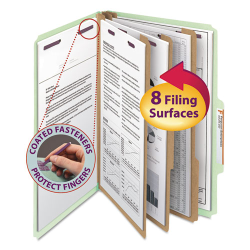 Pressboard Classification Folders with SafeSHIELD Coated Fasteners, 2/5 Cut, 3 Dividers, Legal Size, Gray-Green, 10/Box. Picture 1