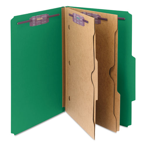 6-Section Pressboard Top Tab Pocket-Style Classification Folders with SafeSHIELD Fasteners, 2 Dividers, Legal, Green, 10/BX. Picture 6