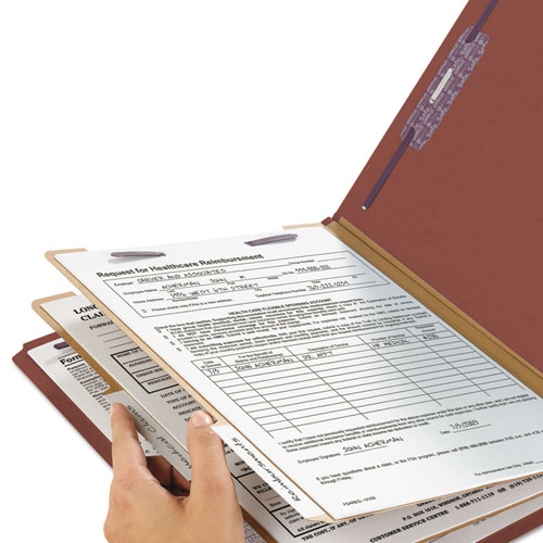 Pressboard Classification Folders with SafeSHIELD Coated Fasteners, 1/3-Cut, 2 Dividers, Legal Size, Red, 10/Box. Picture 7