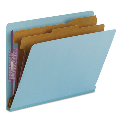End Tab Colored Pressboard Classification Folders with SafeSHIELD Coated Fasteners, 2 Dividers, Letter Size, Blue, 10/Box. Picture 7
