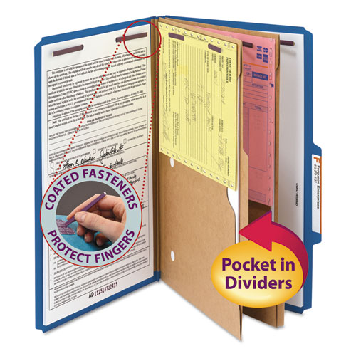6-Section Pressboard Top Tab Pocket-Style Classification Folders w/ SafeSHIELD Fasteners, 2 Dividers, Legal, Dark Blue, 10/BX. Picture 1