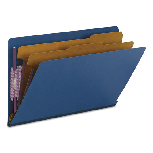 End Tab Colored Pressboard Classification Folders with SafeSHIELD Coated Fasteners, 2 Dividers, Legal Size, Dark Blue, 10/Box. Picture 7