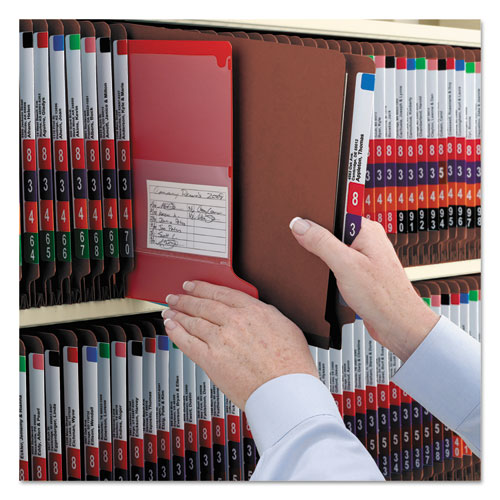 End Tab Pressboard Classification Folders with SafeSHIELD Coated Fasteners, 2 Dividers, Legal Size, Red, 10/Box. Picture 6