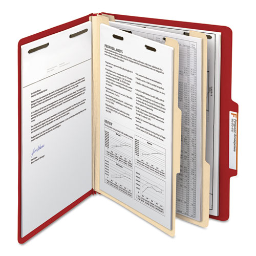 Colored Top Tab Classification Folders, 2 Dividers, Letter Size, Red, 10/Box. Picture 6