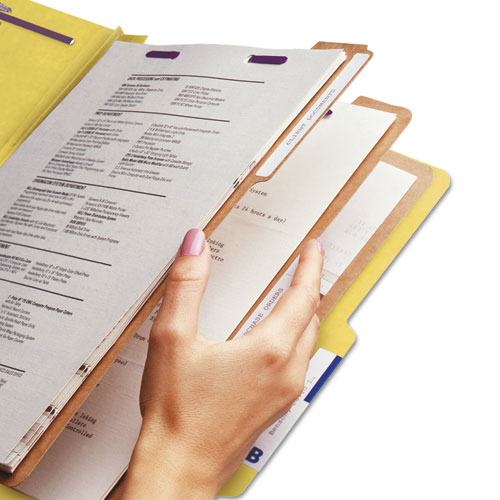 Eight-Section Pressboard Top Tab Classification Folders with SafeSHIELD Fasteners, 3 Dividers, Letter Size, Yellow, 10/Box. Picture 8