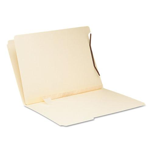 Self-Adhesive Folder Dividers for Top/End Tab Folders w/ 2-Prong Fasteners, Letter Size, Manila, 100/Box. Picture 4
