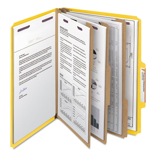 Eight-Section Pressboard Top Tab Classification Folders with SafeSHIELD Fasteners, 3 Dividers, Letter Size, Yellow, 10/Box. Picture 9