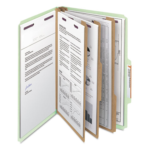 Pressboard Classification Folders with SafeSHIELD Coated Fasteners, 2/5 Cut, 3 Dividers, Legal Size, Gray-Green, 10/Box. Picture 8