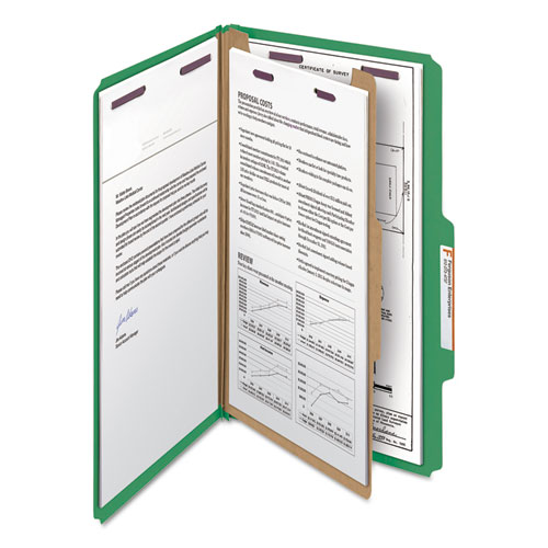 Four-Section Pressboard Top Tab Classification Folders with SafeSHIELD Fasteners, 1 Divider, Legal Size, Green, 10/Box. Picture 7