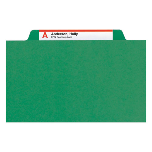 6-Section Pressboard Top Tab Pocket-Style Classification Folders with SafeSHIELD Fasteners, 2 Dividers, Legal, Green, 10/BX. Picture 9