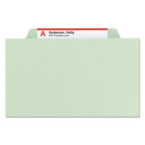 Pressboard Classification Folders with SafeSHIELD Coated Fasteners, 2/5 Cut, 2 Dividers, Legal Size, Gray-Green, 10/Box. Picture 5