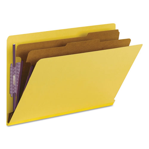 End Tab Colored Pressboard Classification Folders with SafeSHIELD Coated Fasteners, 2 Dividers, Legal Size, Yellow, 10/Box. Picture 8