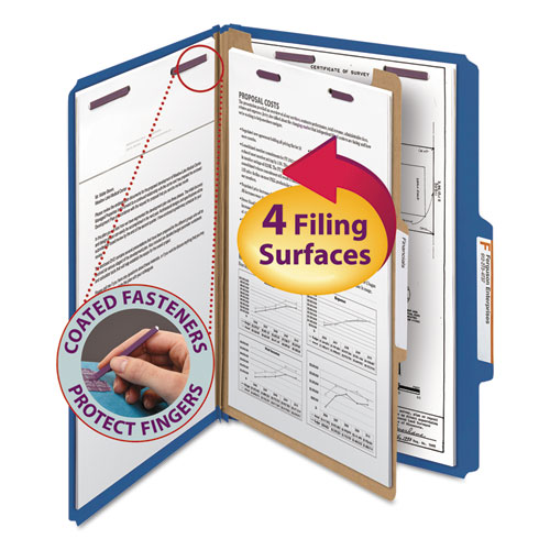 Four-Section Pressboard Top Tab Classification Folders with SafeSHIELD Fasteners, 1 Divider, Legal Size, Dark Blue, 10/Box. Picture 1