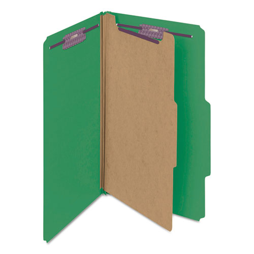 Four-Section Pressboard Top Tab Classification Folders with SafeSHIELD Fasteners, 1 Divider, Legal Size, Green, 10/Box. Picture 8