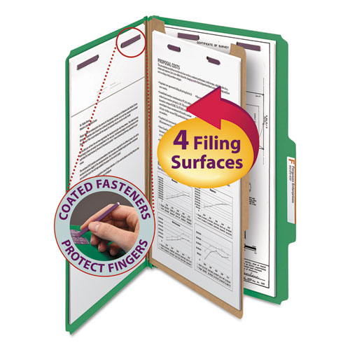 Four-Section Pressboard Top Tab Classification Folders with SafeSHIELD Fasteners, 1 Divider, Legal Size, Green, 10/Box. Picture 1