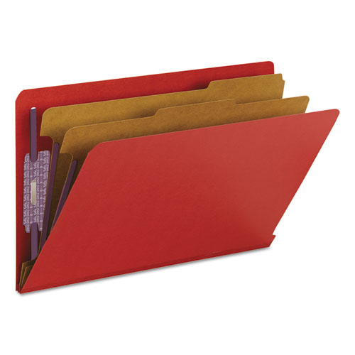 End Tab Pressboard Classification Folders with SafeSHIELD Fasteners, 2 Dividers, Legal Size, Bright Red, 10/Box. Picture 8