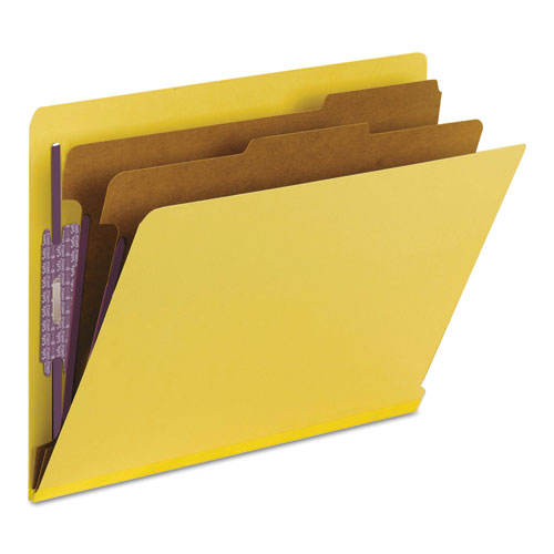 End Tab Colored Pressboard Classification Folders with SafeSHIELD Coated Fasteners, 2 Dividers, Letter Size, Yellow, 10/Box. Picture 8