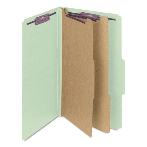 Pressboard Classification Folders with SafeSHIELD Coated Fasteners, 2/5 Cut, 2 Dividers, Legal Size, Gray-Green, 10/Box. Picture 6