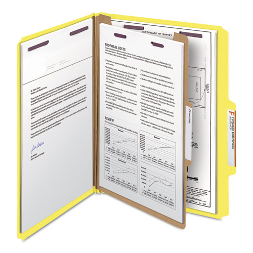 Four-Section Pressboard Top Tab Classification Folders with SafeSHIELD Fasteners, 1 Divider, Letter Size, Yellow, 10/Box. Picture 9