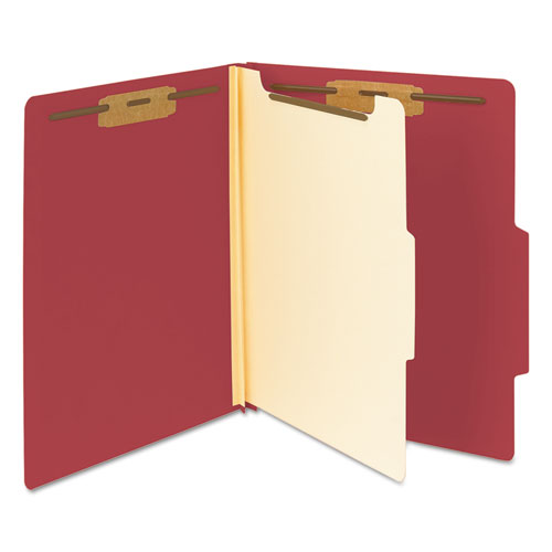 Colored Top Tab Classification Folders, 1 Divider, Letter Size, Red, 10/Box. Picture 6