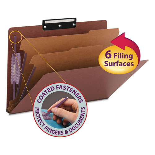 Pressboard Classification Folders with SafeSHIELD Coated Fasteners, 1/3-Cut, 2 Dividers, Legal Size, Red, 10/Box. Picture 1